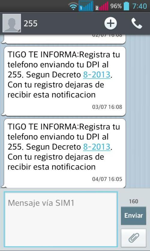Estos son los mensajes de texto que te llegan si no has registrado aún tu número.