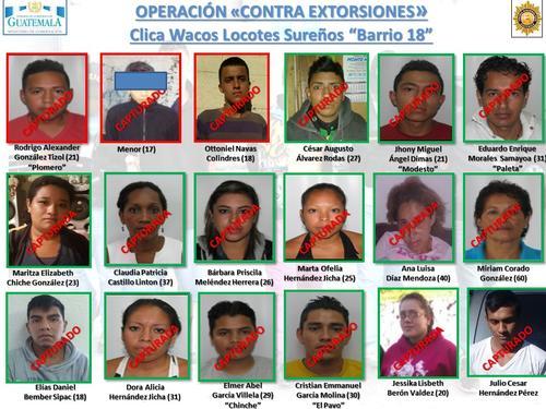 Entre los detenidos se encuentran cuatro menores de edad que fueron remitido a un juzgado de menores en conflicto con la ley penal. (Foto: PNC)
