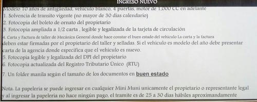 Requisitos solicitados por la Municipalidad de Guatemala.