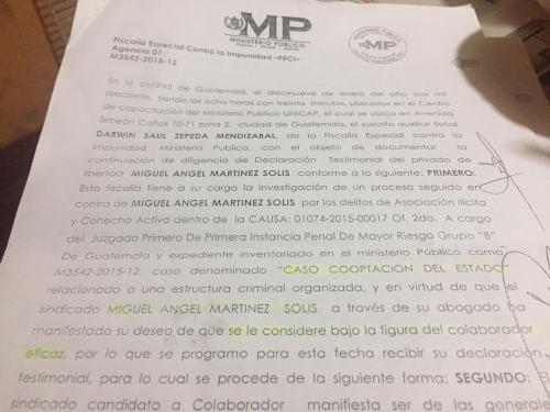 Esta es el acta que comprueba la petición de Miguel Ángel Martínez de querer convertirse en colaborador eficaz. (Foto: Soy502)