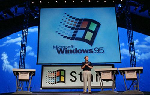 Día del lanzamiento: Bill Gates presenta Windows 95. (Foto: microsoft)