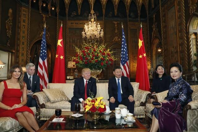 Melania acompañó a Trump durante la recepción del mandatario chino Xi Jinping. (Foto El Nuevo Herald)