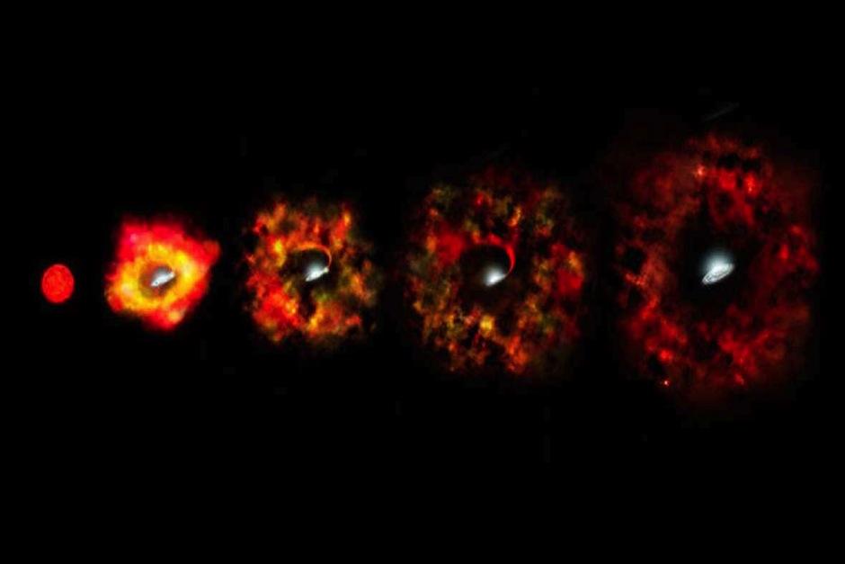 Etapas finales de la vida de una estrella supermasiva que fracasa en su explosión como supernova y en su lugar implosiona para formar un agujero negro. (Foto Rtve)