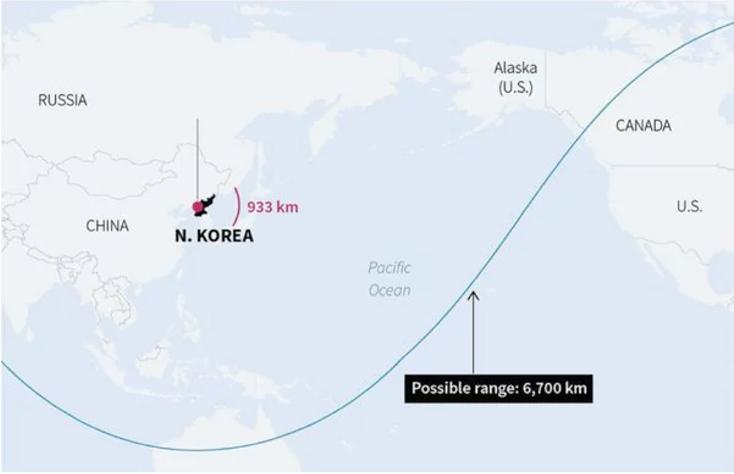 Este es el alcance del misil Hwasong-14 lanzado el 4 de julio. (imagen. Infobae)