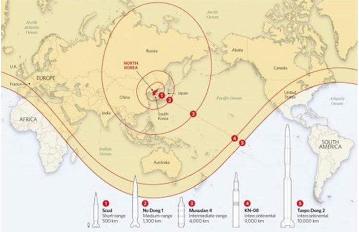 En amarillo, el alcance actual de los misiles norcoreanos. (imagen. Infobae)