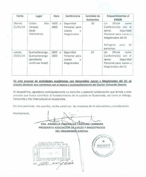 La carta firmada por Cardona para López Ambrocio