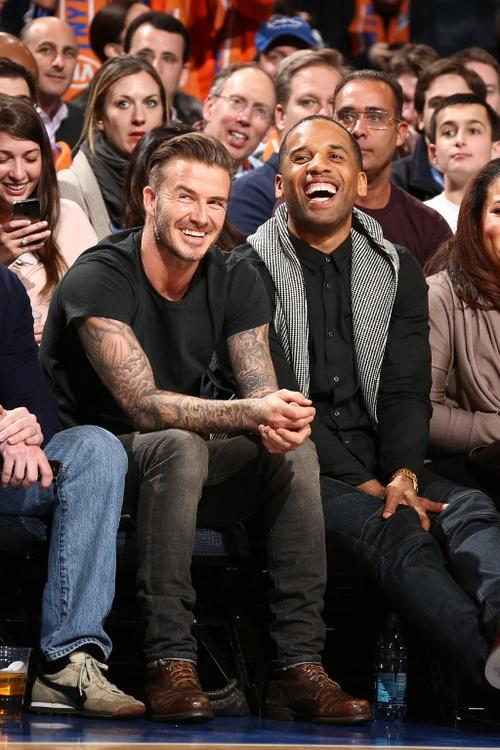 David Beckham durante el juego entre Miami Heat y Knicks de Nueva York