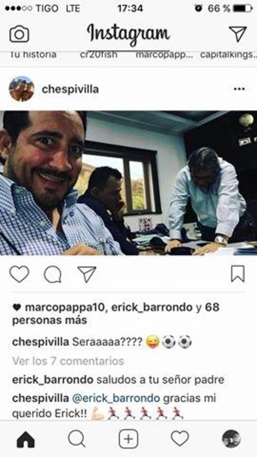 Gerardo Villa Jr. publicó en Instagram esta foto donde se ve a Marco Pappa y al presidente de Municipal Gerardo Villa. (Foto: Instagram)