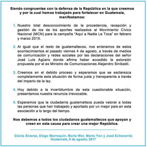 Gloria Álvarez renuncia al MCN
