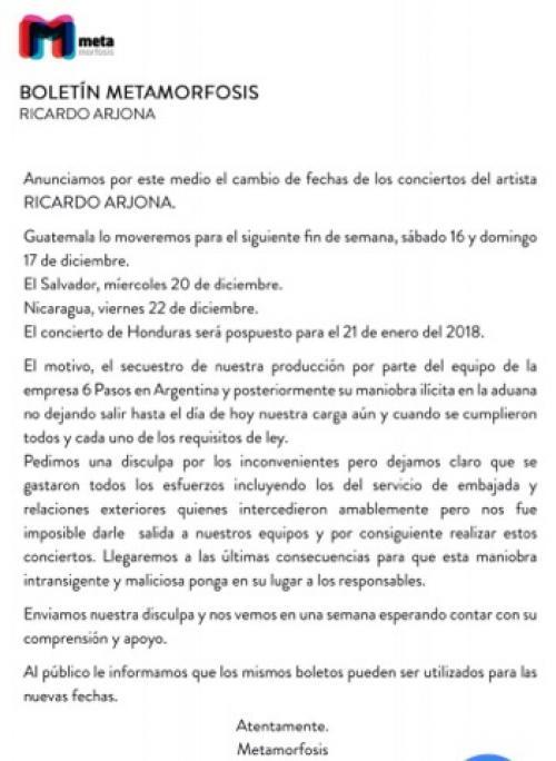 Cambio de fecha del concierto de Ricardo Arjona.