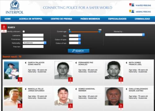 En la página pública de Interpol aparece un listado con 70 guatemaltecos. (Foto: captura de pantalla)
