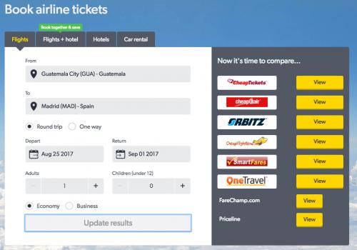 Sitio web de Cheap Flights que compara precios de boletos de avión. (Foto: captura de pantalla)