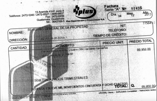 Factura girada por la empresa de Samuel Morales por un servicio que no estuvo a su cargo. (Foto: archivo/Soy502)