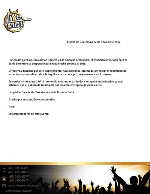 Comunicado oficial. (Documento: TDO Eventos)