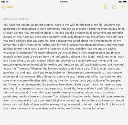 Supuesta carta que Cahriona White escribió en 2013 a Jim Carrey. (Foto: captura de pantalla/infobae)