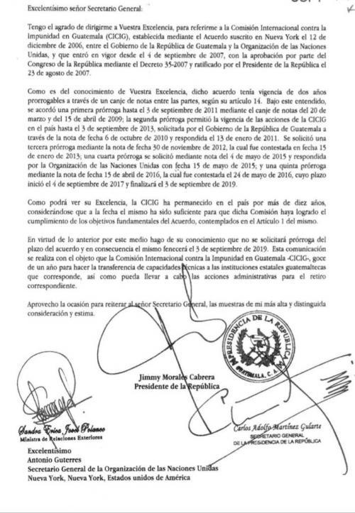 Esta es la carta que envió Jimmy Morales a Naciones Unidas.