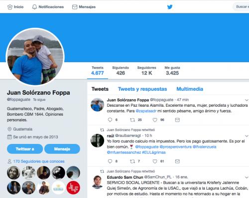 Imagen del nuevo perfil de Solórzano Foppa. (Foto: Twitter)