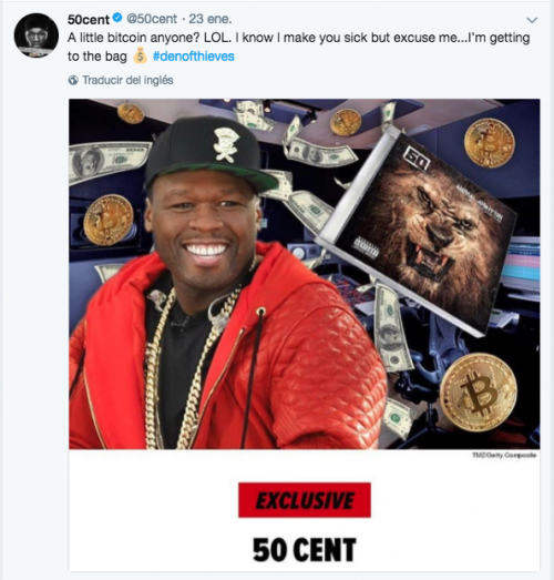 El rapero publicó una imagen en su cuenta de Twitter en la que hace alusión a su nueva fortuna. (Imagen: Twitter/@50cent)