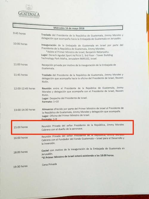 En la agenda de actividades del presidente Jimmy Morales quedó constancia de una reunión con el dueño del avión en el que viajó el mandatario a Israel. (Foto: Jessica Gramajo/Soy502)