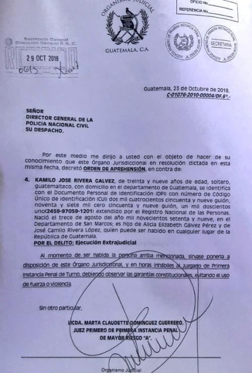 Esta es la orden de captura en contra de Kamilo Rivera.