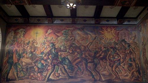 """En este mural de Alfredo Gálvez Suárez aparece un """"niño desnudo"""" que se cree es el retrato de uno de los hijos del artista. (Foto: Selene Mejía/Soy502)"""