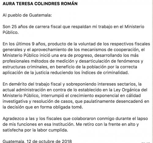 Este es el comunicado de la ahora exfiscal Aura Teresa Colindres.