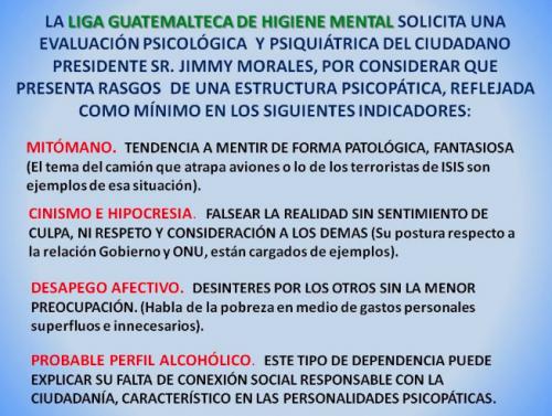 Comunicado emitido el fin de semana por la Liga Guatemalteca de Higiene Mental.
