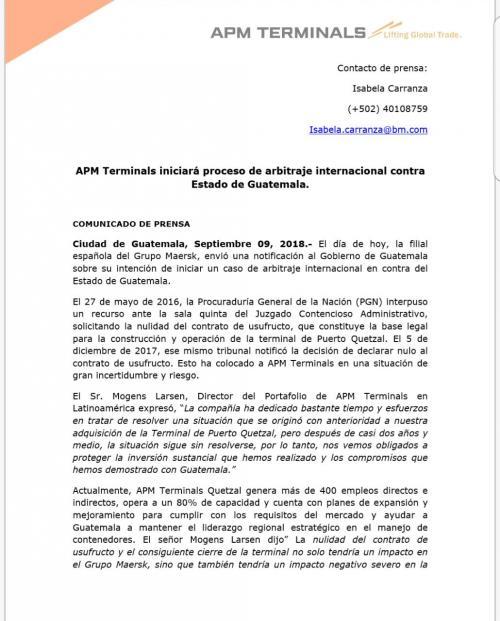 APM Terminals amenaza a Guatemala con un arbitraje por contrato en portuaria