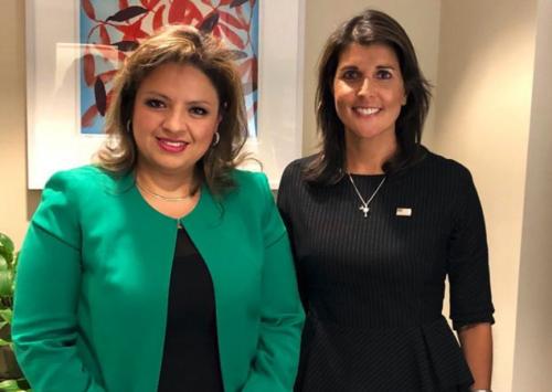 Sandra Jovel se reunió con Nikki Haley en Washington antes de tomar la decisión de no renovar la CICIG. (Foto: Instagram)