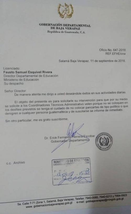 Este es el oficio de la Gobernación de Baja Verapaz.