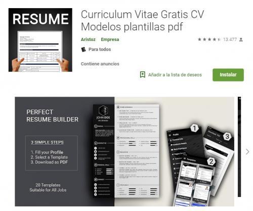 Con ella tendrás tu CV rápidamente y podrás exportarlo en formato PDF (Foto Google Play)