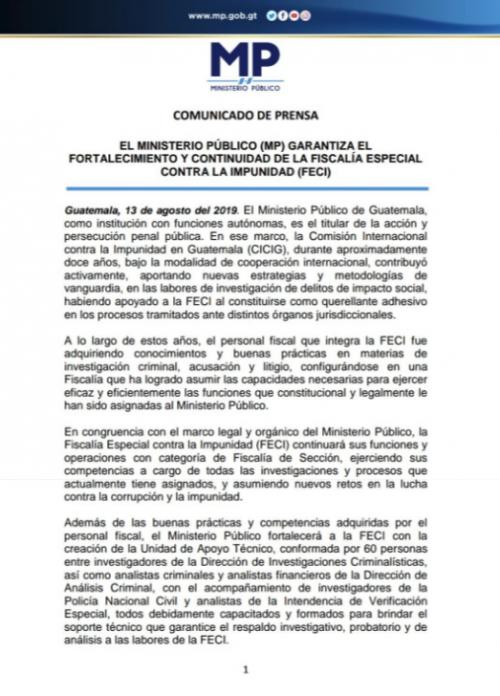 Comunicado de prensa del Ministerio Público sobre la FECI. (Foto: MP)