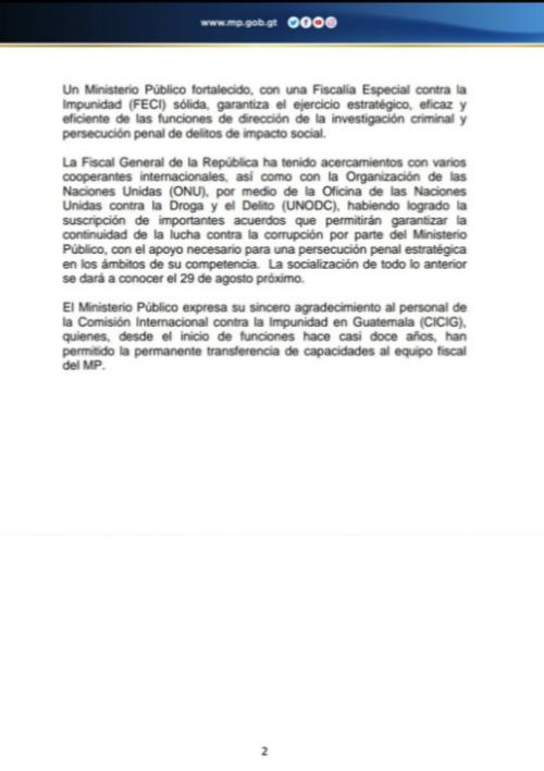 El MP agradece a la CICIG la transferencia de capacidades a los fiscales. (Foto: MP)