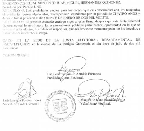 """El TSE ya oficializó la elección de """"Miguelito"""". (Foto: TSE)"""