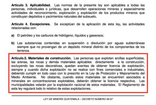 Artículo 5 de la Ley de Minería. (Foto: Captura de pantalla)