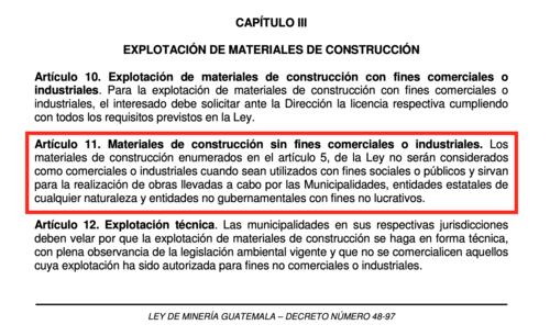 Artículo 11 del reglamento de la Ley de Minería. (Foto: Captura de pantalla)