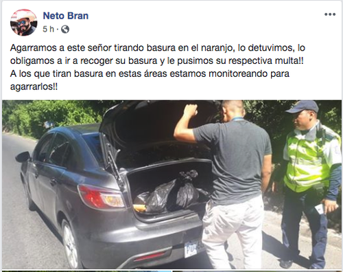 El alcalde de Mixco publicó en sus redes sociales la acción de la PMT. (Foto: Facebook/Neto Bran)