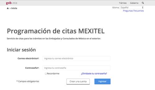 Así luce la página para realizar tu cita para obtener la visa mexicana.