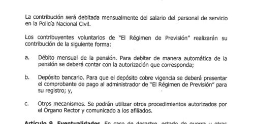 Órden General 25-2019, sobre Régimen de Previsión Social PNC