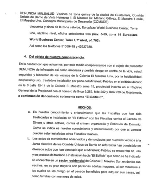 Parte de la denuncia presentada al MSPAS. (Foto: Soy502)