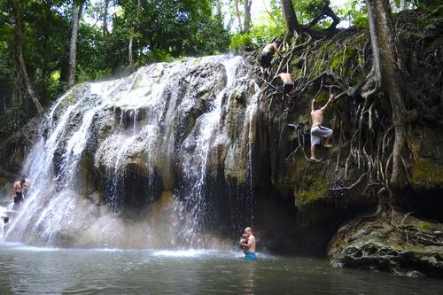 Los más arriesgados se atreven a escalar las raíces de los árboles para lanzarse clavados. (Foto: Fredy Hernández/Soy502)