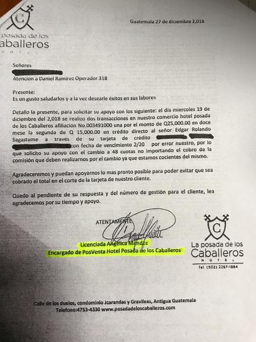 La carta firmada por Angélica Méndez. (Foto: Soy502)