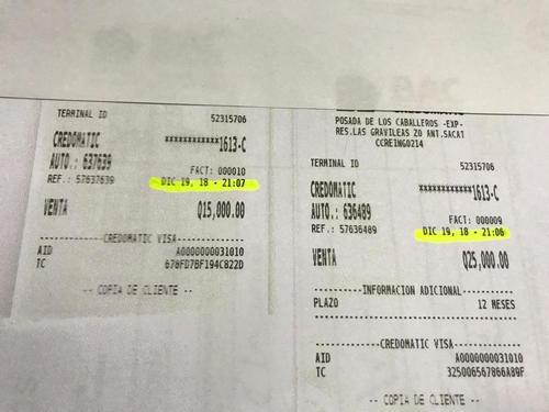 Los comprobantes de los débitos. (Foto: Soy502)