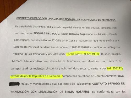 Aparecen los datos del ciudadano colombiano.