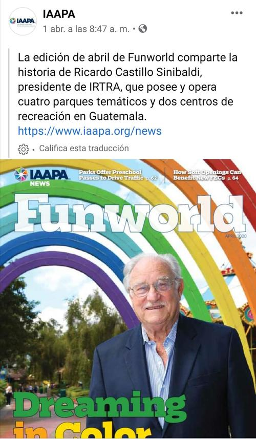 Captura del post creado en el Facebook de IAAPA.