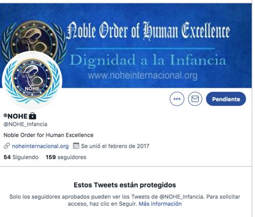 El perfil en Twitter es privado.