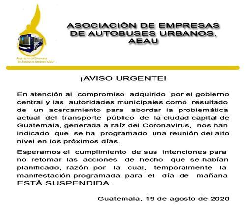 Este es el comunicado donde se anuncia la cancelación de la caravana programada por pilotos de buses de la capital.