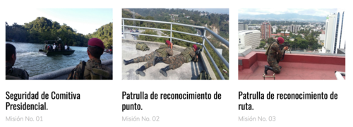 La Guarida Presidencial desarrolla ocho misiones de seguridad presidencial y vicepresidencial.  Tres de ellas se muestran en la imagen. (Foto: captura de pantalla www.guardiapresidencial)