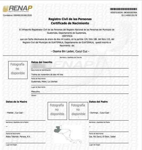 Certificado extendido por el Renap.