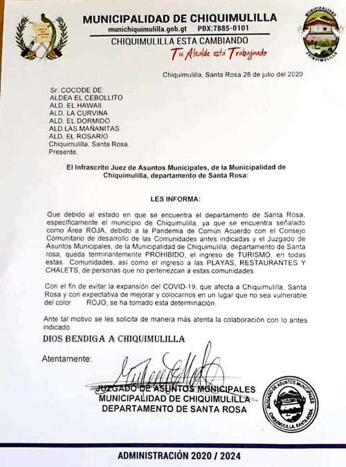 Chiquimulilla prohíbe el ingreso de turistas a esa localidad para evitar la propagación del Covid-19. (Foto: Municipalidad)